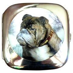 English Bulldog Enameled Silver Case