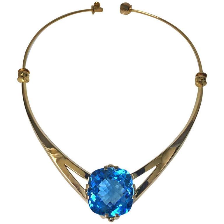 20th Century Leif Bergmark Swedish Topaz Gold Necklace