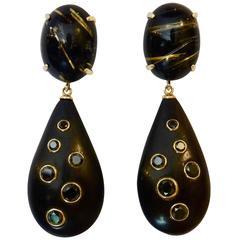 Rutilated Quartz Ebony Black Diamond Gold Dangle Earrings