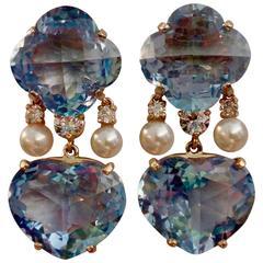 Michael Kneebone Blue Topaz Akoya Pearl Diamond Two-Color Gold Dangle Earrings