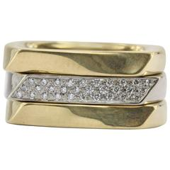 Tiffany & Co. Frank Gehry Set of 3 Two Color Gold Torque Band Rings
