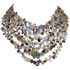 Exceptional Multi-Strand Faceted Semi-Precious and Sterling Necklace