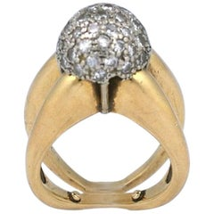 Modernist Pave Diamond Ball Ring