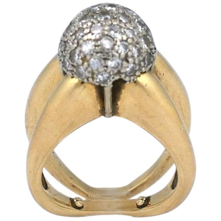 Modernist Pave Diamond Ball Ring For Sale