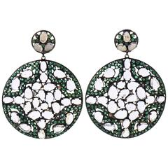 Tsavorite White Topaz Diamond Silver Gold Dangle Earrings