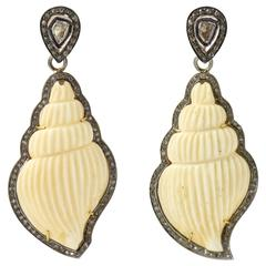 Long Carved Bone Shells and Diamond Dangling Earrings