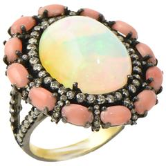 Crystal Opal, Coral and Diamond Cocktail Statement Ring