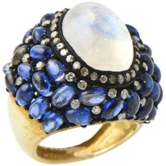 Moonstone Kyanite Diamond Vermeil Statement Ring