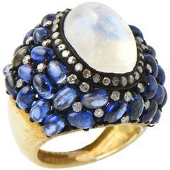 Moonstone Kyanite Diamond Vermeil Statement Ring