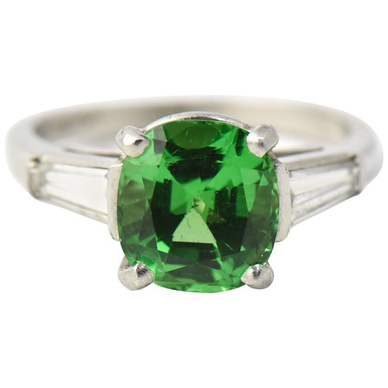 Cushion Shaped 2.78 Carat Tsavorite Garnet Diamond Platinum Ring