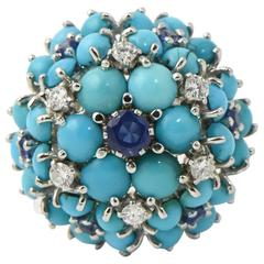 Mid 20th Century Sapphire, Turquoise and Diamond Gold Flower Dome Cocktail Ring