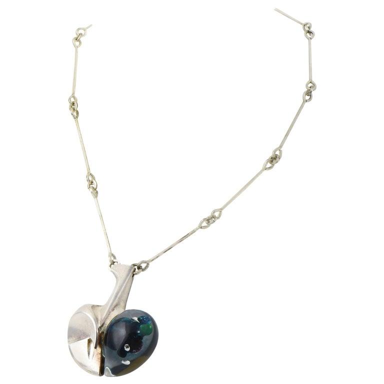 Modernist Organic Lapponia Björn Weckström Space Apple Silver Acrylic Necklace For Sale