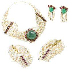 Custom Emerald Ruby Pearl Diamond Gold Necklace Earring and Bracelet Suite