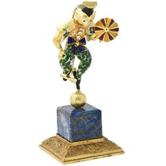 Italian Diamond  Enamel Circus or Street Performer Brooch  Statue and Stand