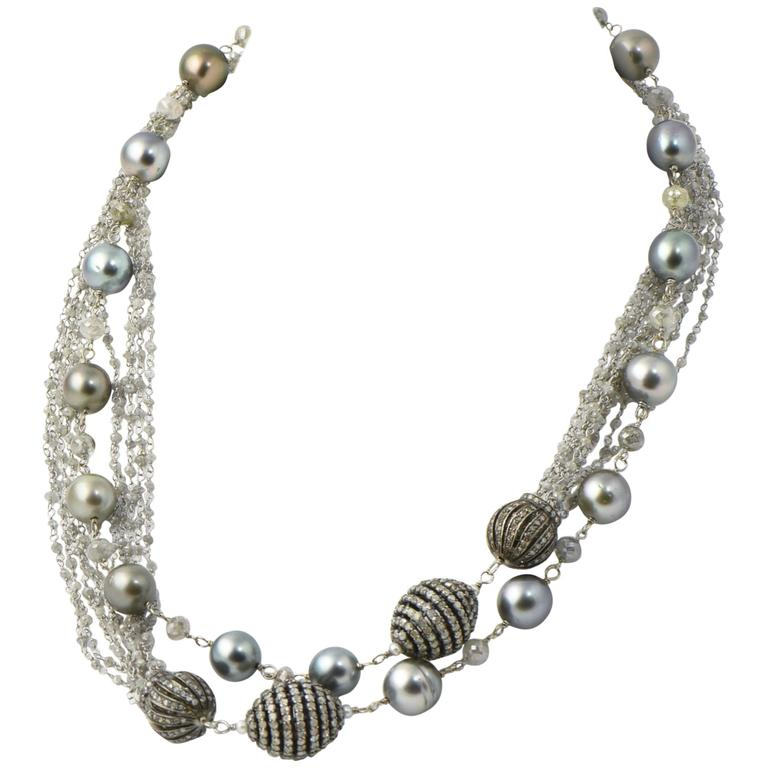 Gray Pearl Diamond Sterling Gold Necklace