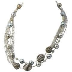 "Custom Made 32"" Long Gray Pearl and Diamond Bead Sterling Gold Necklace"