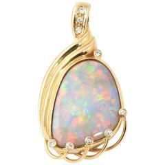 Intense Color Australian Semi Black / Grey Crystal Opal, Diamond & Gold Pendant