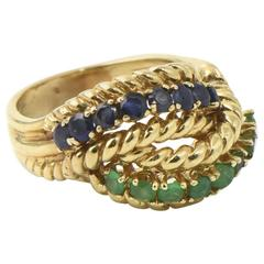 1960s Emerald Sapphire Twisted Rope Gold Ring