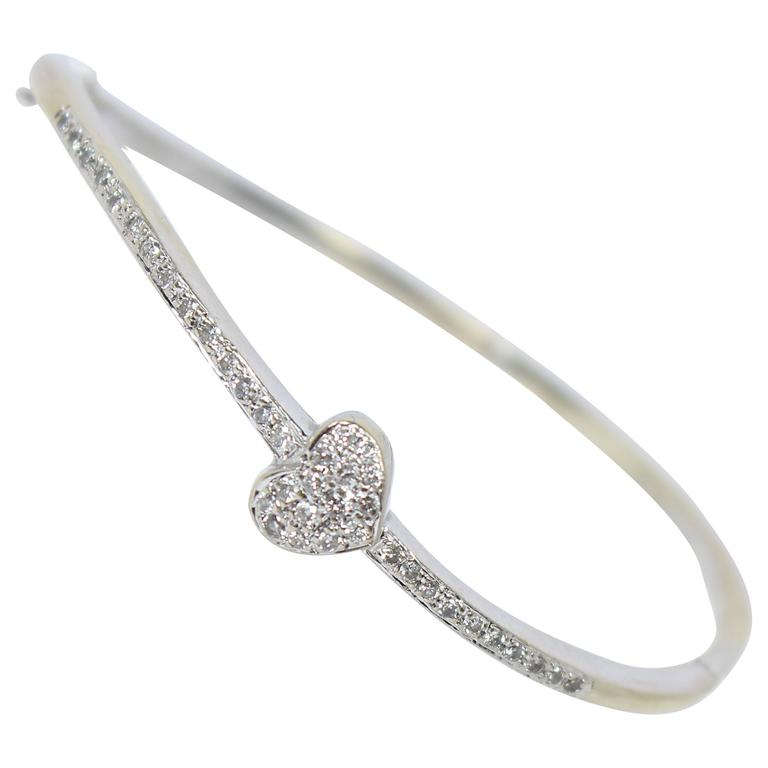 Diamond Pave Gold Heart Bangle Bracelet