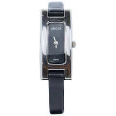 GUCCI Swiss Metal and Black Leather Strap Watch
