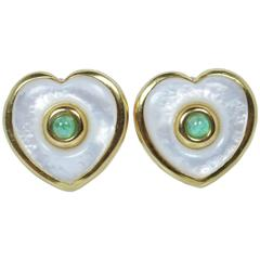Pearl Cabochon Emerald Gold Earrings