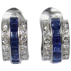 Emerald Cut Blue Sapphire Diamond Gold Earrings