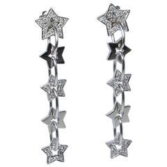 Pave Diamond Gold Dangle Star Earrings
