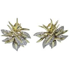 Diamond Pave Gold Starburst Earrings