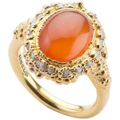 Milena Kovanovic Carnelian and Seed Pearl Rose Gold Vermeil Silver Ring