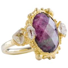 Milena Kovanovic Ruby Zoisite and Herkimer Crystal Gold Vermeil Silver Ring