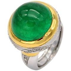 Claris. A Emerald Cabochon Diamond Gold Ring