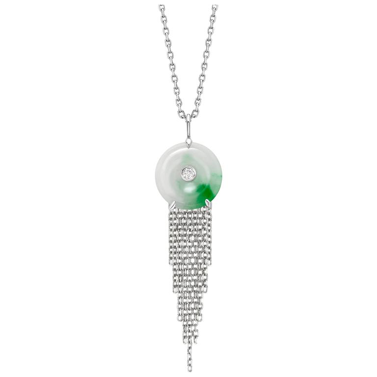 Ana de costa green jade round disc white diamond platinum chain drop ana de costa green jade round disc white diamond platinum chain drop pendant for sale aloadofball Images