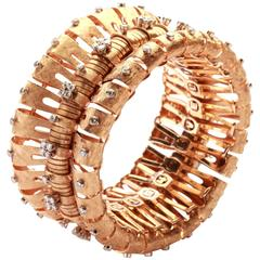 1950s Italian Retro Diamond Gold Bracelet