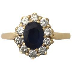 1990s 1.05 Carat Sapphire Diamond Gold Cocktail Ring