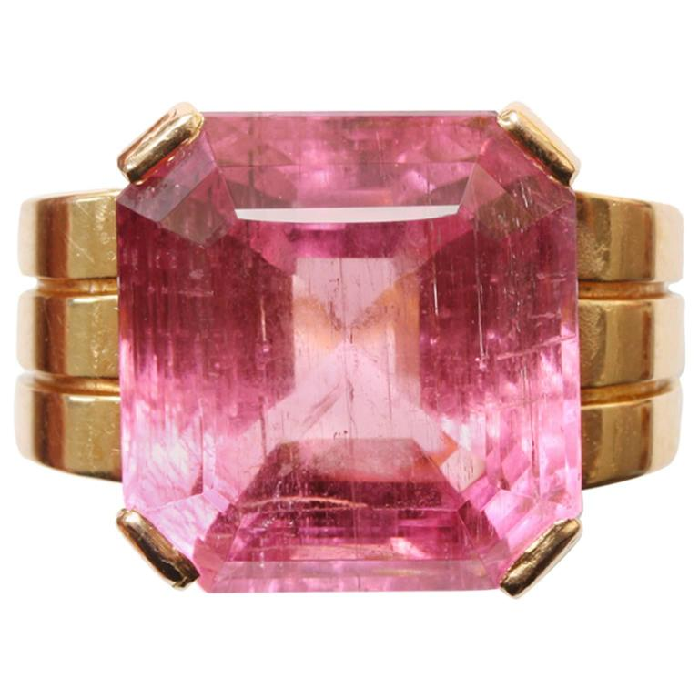 Art Deco Pink Tourmaline Gold Ring For Sale