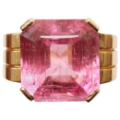 Art Deco Pink Tourmaline Gold Ring