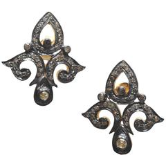 Diamond Oxidized Sterling Silver Fleur de Lis Earrings