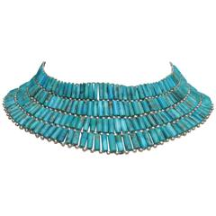 Turquoise Sterling Silver Collar Necklace