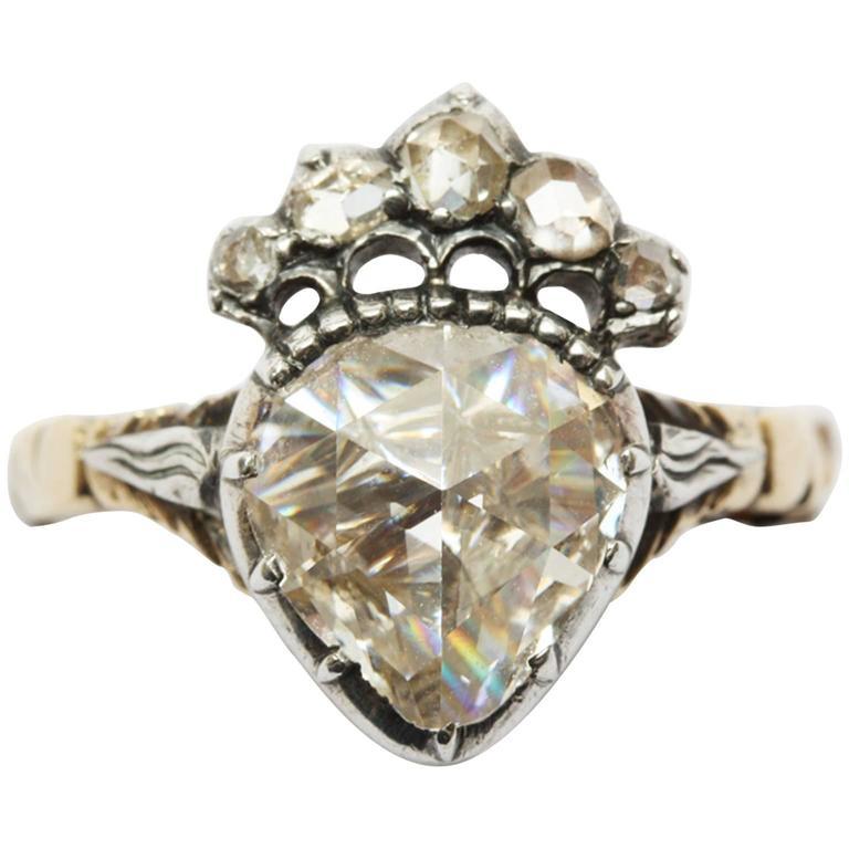 b2d03fc7f6 Antique Dutch Rose Cut Diamond Crowned Heart Ring at 1stdibs