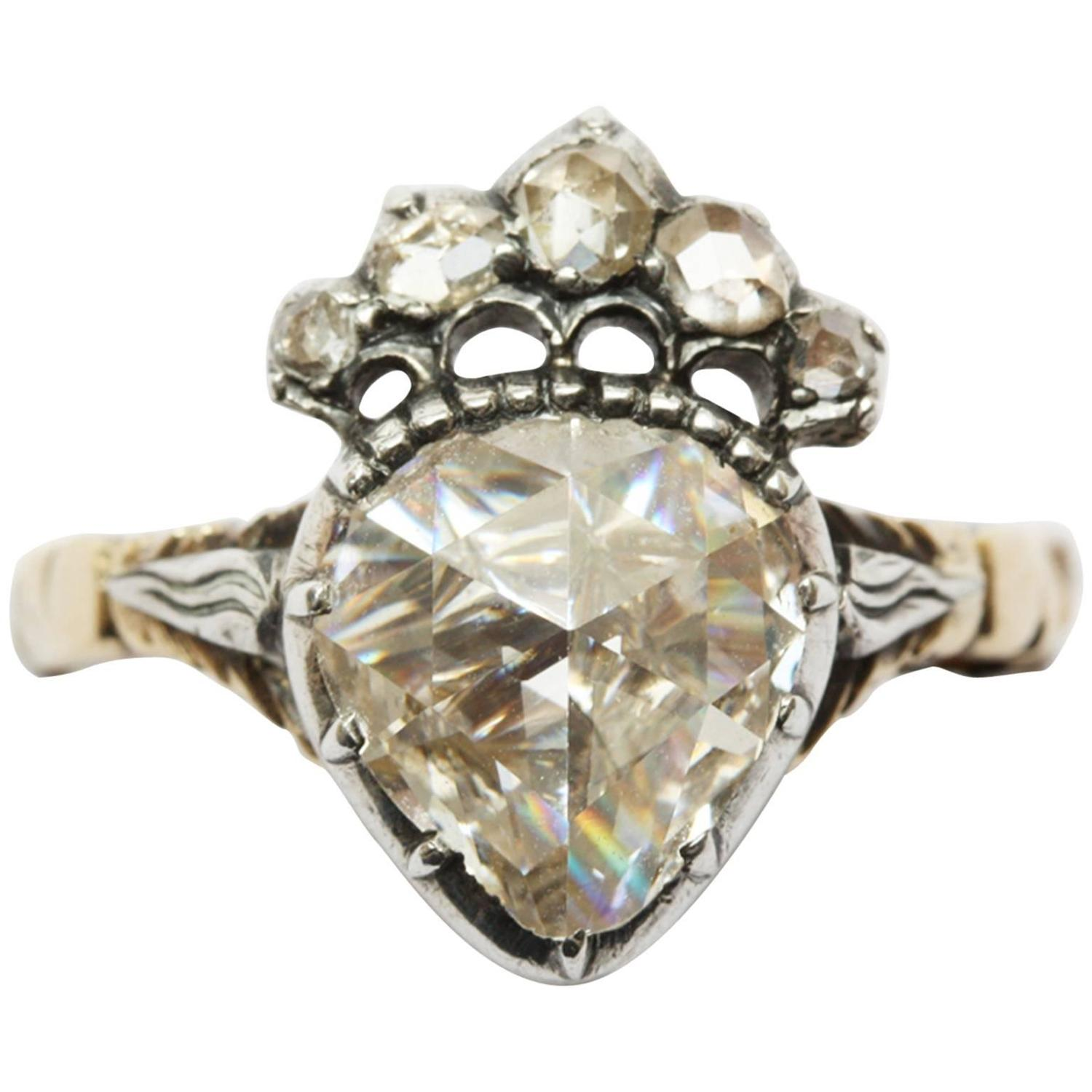 ring white melanie casey rings yg diamond rose products cut rising engagement