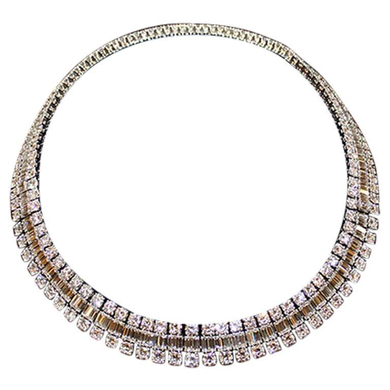 Mellerio Dits Meller Paris 1950s Diamond Platinum Necklace and Tiara For Sale