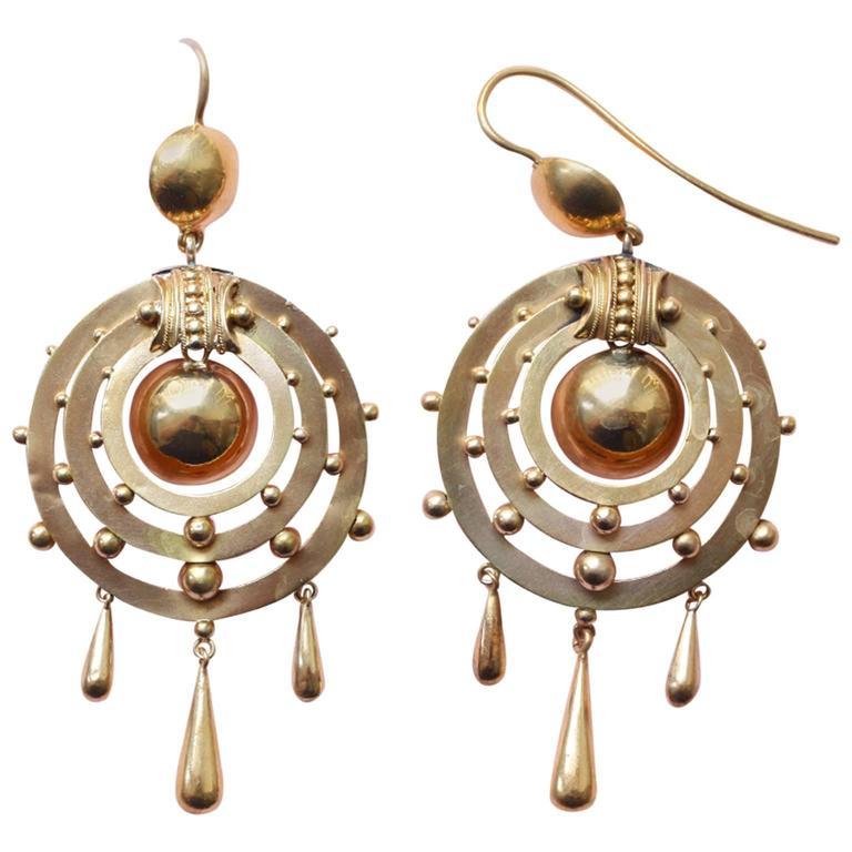 Victorian Gold Dangle Earrings