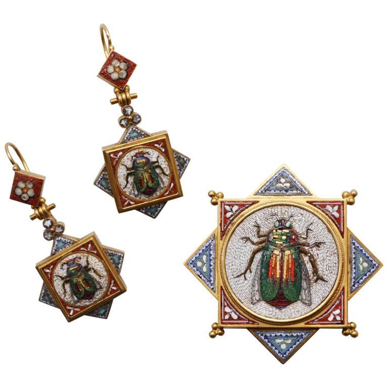 Antique Papal Roman Workshops Egyptian Revival Micromosaic Suite For Sale