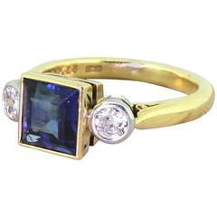 Boodles Step Cut Sapphire Old Cut Diamond Gold Trilogy Ring