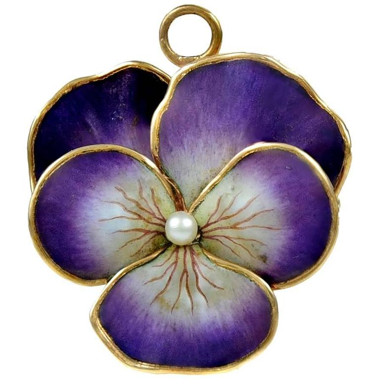 Antique Enamel Pearl Gold Pansy Pin Pendant 1