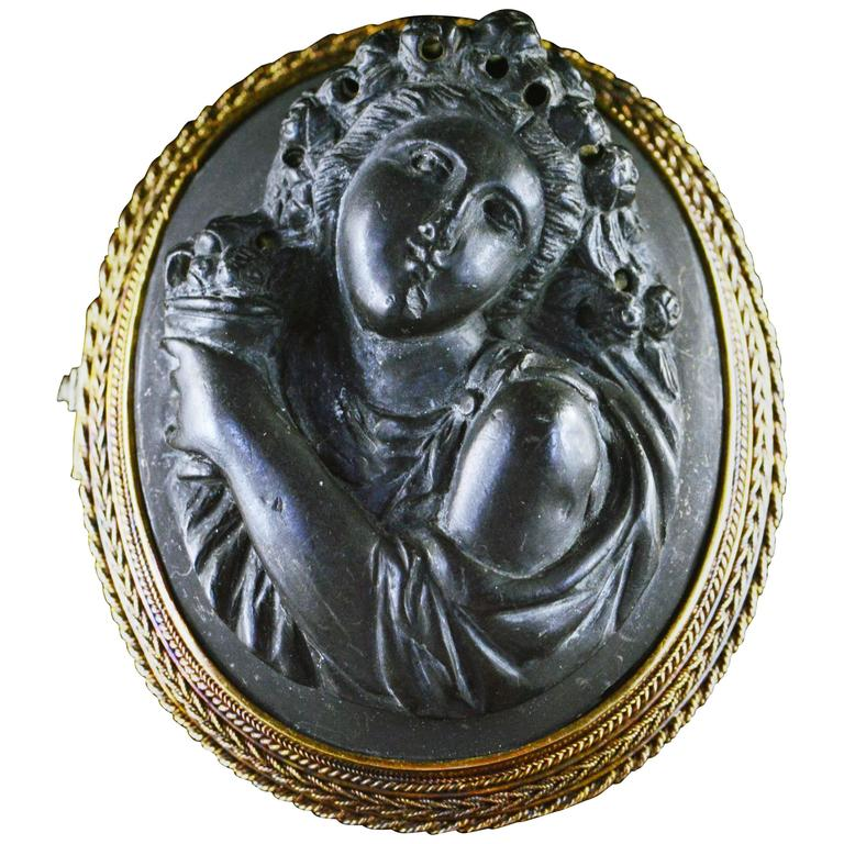 Antique Lava Rock Carved Cameo Gold Brooch