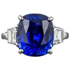 9.48 Carat Gem Ceylon Sapphire Diamond Platinum Ring