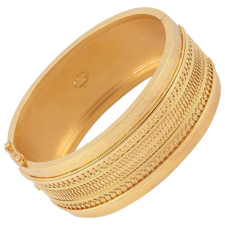 Victorian Gold Etruscan Revival Bangle Bracelet
