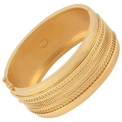 Victorian Gold Etruscan Revival Bangle Bracelet