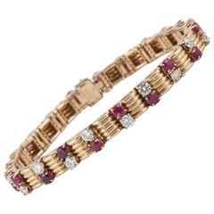 1960s Boucheron Ruby Diamond Gold Bracelet